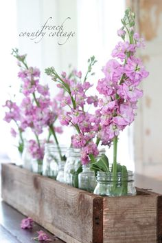 FRENCH COUNTRY COTTAGE: Rustic Box Centrepiece - instead of planting my outdoor window boxes on my shed I can try this. Use my used mason jars and fresh flowers from my yard. Dining Room Table Centerpieces, Rustic Centerpieces, Dining Table, Centrepieces, Country Decor, Rustic Decor, Farmhouse Decor, Rustic Table, Farmhouse Style
