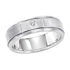 Men's 8.0mm Diamond Accent Wedding Band in Tungsten - Size 10