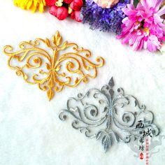 Железа на Budges вышитые цветы одежда / золото и серебро 12 * 16.5 см купить на AliExpress