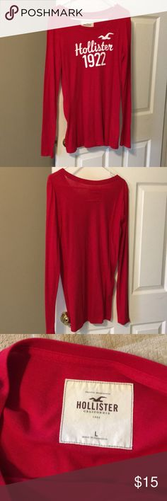 Hollister long sleeve tshirt Red long sleeve Hollister tshirt. Great condition no holes or snags. Hollister Tops Tees - Long Sleeve