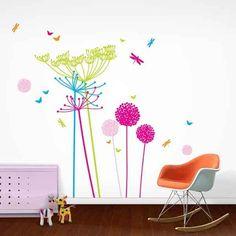 La nature réinterprétée en couleurs vives Sticker Fluoro - Dandelions & Cow Parsely - www.bodieandfou.com