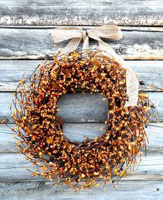 FALL CANDY CORN Door Wreath-Fall Home Decor-Autumn Wreath-Fall Wedding Decor-Rustic Home Decor-Scented Pumpkin Spice-Choose Scent-Ribbon