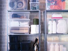 New Year's resolution: Get organized! A quick and easy way to start: sort items into plastic bins. Our SAMLA bins are stackable and see-through so you know exactly what's inside.