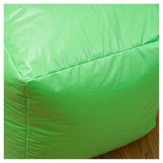 Parker Vinyl Bean Bag Cube Ottoman - Green - Christopher Knight Home