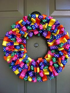 Ribbon wreath - customizable colors and a larger size also available - katiekomo.etsy.com