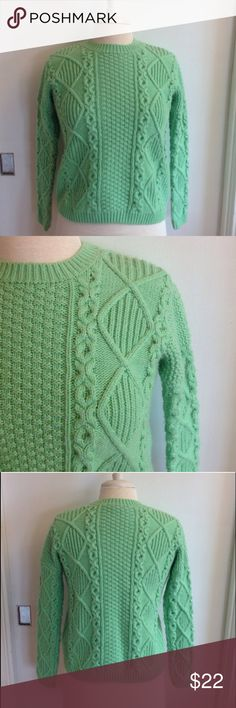 """Topshop Mint Green Knit Sweater Topshop sweater. Size 2. Cable knit, long sleeves. Material: 83% acrylic, 10% nylon, 7% angora rabbit hair. Machine wash. Measurements: shoulders: 15"""", bust: 17"""", length: 20.5"""", sleeve length: 19"""". Pre-loved, beautiful condition. No flaws seen. Topshop Sweaters"""