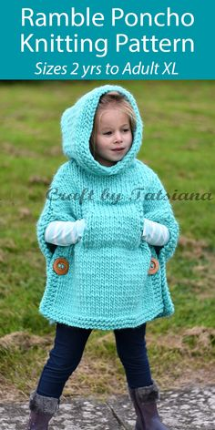 Knitting Pattern for Ramble Poncho For Adults and Children with Hood and knitting knit knitting crochet diy Knitting For Kids, Easy Knitting, Loom Knitting, Knitting Stitches, Knitting Projects, Knitting Ideas, Poncho Knitting Patterns, Crochet Poncho, Free Childrens Knitting Patterns