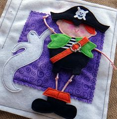 "what a cute Little Pirate for a #quiet book! ...From ""Little Spooks"", a PDF pattern by LindyJDesign on etsy.Love, love how his costume is interchangable with the other little trick-or-treaters in this fun book!"