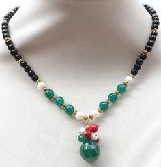 Faceted green Agate,red Coral pendant, black Onyx  beads,Pearls necklace #Handmade #string