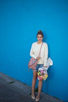 4.15 flowers & coffee (J Crew chunky sweater + Rag & Bone BF denim shorts + Chanel flats + Chloe satchel in pink + Ray Bans)