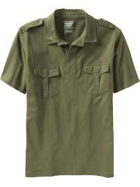 Men's Military-Inspired Jersey Polos
