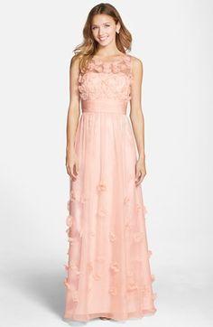 JS Collections Floral Appliqué Chiffon Gown
