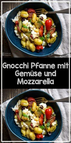 Gnocchi pan with vegetables and mozzarella-Gnocchi Pfanne mit Gemüse und Mozzarella Perfect recipe for the whole family: Gnocchi pan with zucchini tomatoes, olives and mozzarella (or burrata). Also chilli flakes for adults. Healthy Low Carb Recipes, Healthy Crockpot Recipes, Easy Healthy Dinners, Healthy Dinner Recipes, Meat Recipes, Vegetarian Recipes, Asian Recipes, Healthy Vegetarian Breakfast, Recipe Chicken