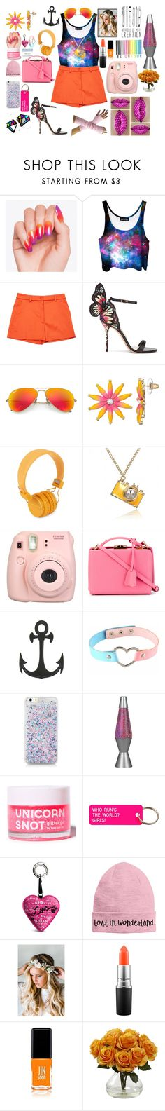 """""""orange just orange"""" by sun-100 ❤ liked on Polyvore featuring Moschino, Sophia Webster, Ray-Ban, Urbanears, Fujifilm, Mark Cross, Lava, Various Projects, Hogan and Emily Rose Flower Crowns"""