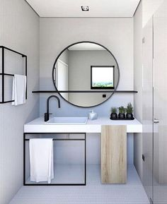 Bathroom Inspiration - Pursue your dreams of the perfect Scandinavian style home with these inspiring Nordic apartment designs. Bathroom Design Small, Bathroom Interior Design, Decor Interior Design, Modern Bathroom, Kitchen Design, Italian Bathroom, Minimal Bathroom, Modern Vanity, Bath Design