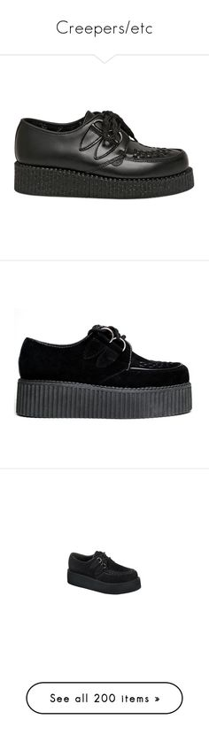 """""""Creepers/etc"""" by duwantsluke ❤ liked on Polyvore featuring shoes, creepers, black, black shoes, black wedge shoes, wedge heel shoes, laced up shoes, black rubber sole shoes, suede leather shoes and suede shoes"""