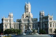 Madrid, Spain - Plaza de Cibeles (Cibeles Square) and the Palacio de Comunicaciones (Communications Palace)
