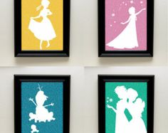 Disney Frozen Silhouette Elsa / Anna / Olaf - Frozen Fever Printable 8x10 Wall Art / Decor - Instant Download - Sisters Princess Silhouette