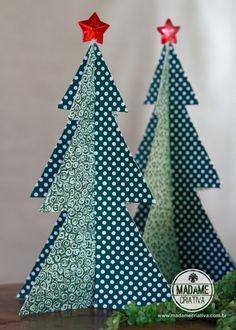 How make christmas tree with cereal box and fabric - DIY tutorial  - Madame Criativa - www.madamecriativa.com...
