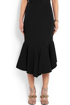 Givenchy | Fluted midi skirt in black stretch-jersey | NET-A-PORTER.COM, $1560, 95/5 viscose elastane