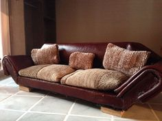 modern dolls house real leather sofa