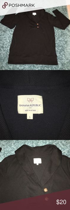 Banana Republic 3 Button Pullover -Black SZ: Large Banana Republic Black 3 Button Pullover - No imperfections. *** Please Ask all questions prior to purchasing. *** Banana Republic Sweaters