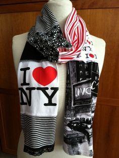 Upcycled Tshirt Scarves | UPCYCLED t-shirt scarf... I love NY... NYC... New York City... red ...