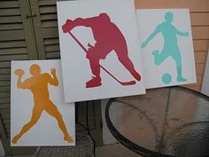 Athlete wall hangings using Dali Decals - Love this idea using our Hockey Players wall decals!