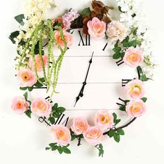6 ft | Pink | 14 Flowers | UV Protected Silk Rose Garland | Bendable Wire Vines | Artificial Flower Garlands with Leaves
