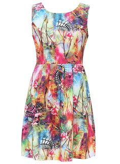 Women's Fashion Print Round Neck Sleeveless A Line Dress .Check more from www.oasap.com .