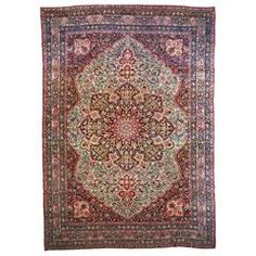 Antique Persian Lavar Kerman Carpet, in Room Size, with Medallion on Ivory Field