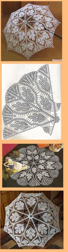 "Guarda chuva de crechet Más [ ""Crochet pattern for a beautiful leafy lace parasol! Filet Crochet, Crochet Motifs, Crochet Chart, Thread Crochet, Love Crochet, Irish Crochet, Crochet Doilies, Crochet Toys, Crochet Lace"