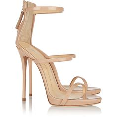 Giuseppe ZanottiHarmony Patent-leather Sandals ($850) ❤ liked on Polyvore featuring shoes, sandals, heels, giuseppe zanotti, sapatos, giuseppe zanotti shoes, beige shoes, stiletto high heel shoes, patent leather stilettos and patent leather sandals