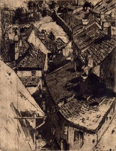 Jan C. Vondrous(Czech, 1884-1956)        Roofs, Prague   1914        etching