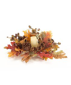 Take a look at this Oak Leaf Candleholder & Wreath on zulily today!