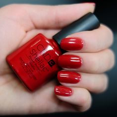 cnd shellac wildfire - - a traditional bright red Red Shellac Nails, Shellac Nail Colors, Cnd Colours, Creative Nail Designs, Creative Nails, Work Nails, Vernis Semi Permanent, Manicure And Pedicure, Pedicures