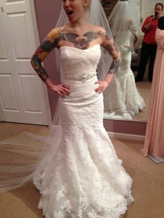 Found on Weddingbee.com  I don't know if I've pinned this before, but I freaking love this dress, and this bride.
