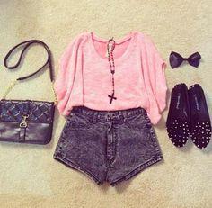Conjunto de roupa Cor de rosa e cinzento  Calçao de ganga