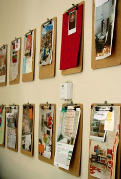clipboards instead of a bulletin board!  one for each kid - love the idea