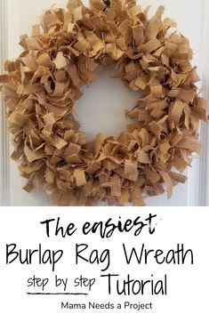 Best 12 If you are looking for a really quick DIY project that will add a huge impact to your home, I would definitely give this easy Burlap Rag Wreath a try! Easy Burlap Wreath, Fabric Wreath, Diy Wreath, Wreath Making, Wreath Ideas, Tulle Wreath, Burlap Projects, Burlap Crafts, Wreath Crafts