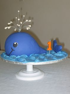 """- For my nephew's first birthday. Whale cake copied from """"Party Animal Cakes"""" by Lindy Smith. Whale Cakes, Sea Cakes, Mini Tortillas, Cupcakes, Cupcake Cakes, Whale Birthday, Birthday Cakes, Sons Birthday, Birthday Ideas"""
