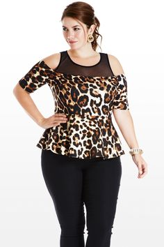 Show Some Smolder Animal Plus Size Peplum Top Trendy Plus Size Clothing, Plus Size Outfits, Plus Size Fashion, Peplum Tops, Peplum Dresses, Plus Size Peplum, Chubby Fashion, Cool Style, My Style