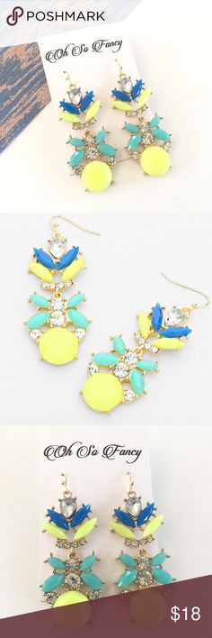 """Blue & Neon Yellow Earrings These colorful bauble leaf earrings are perfect for spring and summer, great for making a statement.  🔸Fish hook  🔸Measures 2.5"""" Long x 0.75"""" wide Oh So Fancy Jewelry Earrings"""