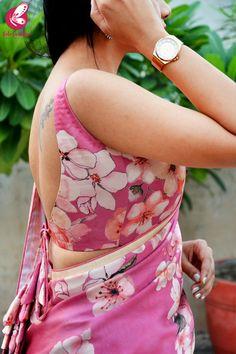 Buy Printed Pinkish Mauve Satin Saree - Sarees Online in India Saree Backless, Lace Saree, Satin Saree, Saree Dress, Indian Blouse, Indian Wear, Indian Sarees, Trendy Sarees, Fancy Sarees