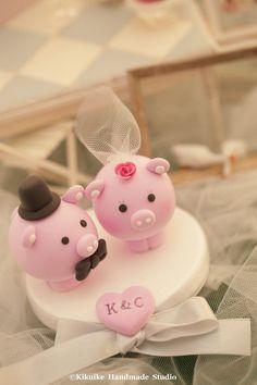 pig and piggy Wedding Cake Topperk711 by kikuike on Etsy