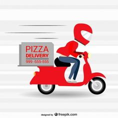 Pizzeria fast delivery vector cartoon Free Vector