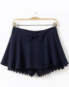 Navy Contrast Hollow Lace Bow Skirt GBP£13.19