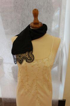 Silk scarf with lace inserts - Sciarpa in seta nera con finale in merletto Lace Insert, High Neck Dress, Ruffle Blouse, Silk, Dresses, Women, Fashion, Turtleneck Dress, Fashion Styles