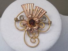 Vintage Art Deco Gold Brooch/Pin With Ruby by LunasVintageDesigns, $30.00