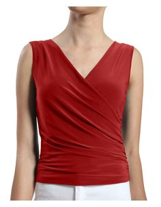 LE3NO Womens Deep V Neck Sleeveless Top with Side Detail